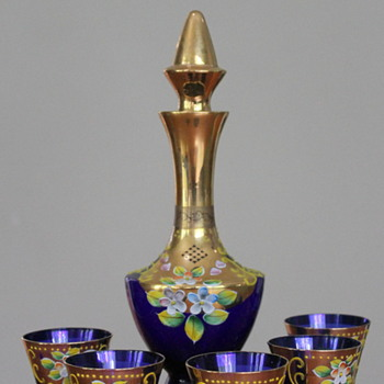 Japanese enamelled decanter and glasses - Art Glass