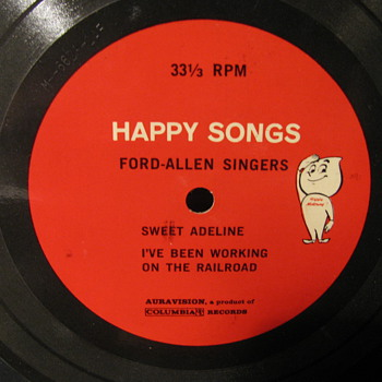 Found a 4 &amp; onehalf inch 33 &amp; one third Happy Motoring man record
