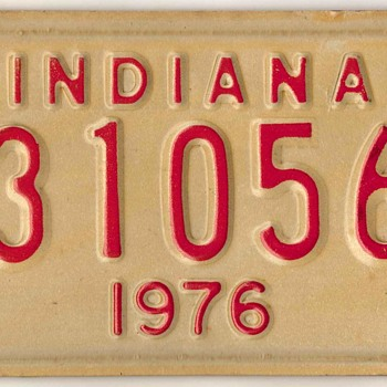1976 - Motorcycle License Plate (Indiana) - Classic Cars