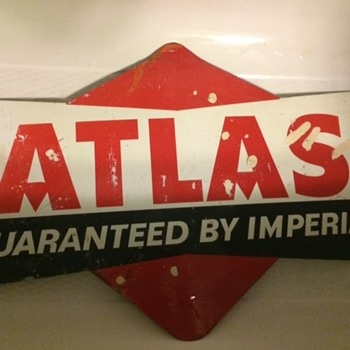 VINTAGE ATLAS TIRES ADVERTISING SIGN