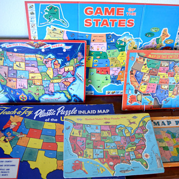 Vintage Children&#039;s USA Map Puzzles &amp; Games - Games