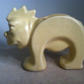 McCoy Stretch Lion - Signed Leslie Cope - Art Pottery