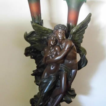 Resin lamp. 'The Abduction of Psyche by Cupid.'