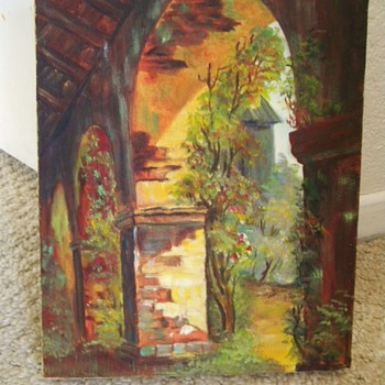 Vintage Oil Painting Unknown Artist Of Old Monastery? Barn?   - Posters and Prints