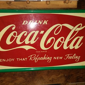 Large metal Coke sign