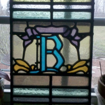 "Old stained glass ""B""  1909 - Art Glass"
