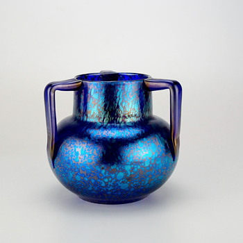 Loetz Cobalt Papillon Three Handle Signed - Art Glass
