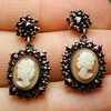 Victorian Bohemian Garnet & Cameo Earrings in Sterling