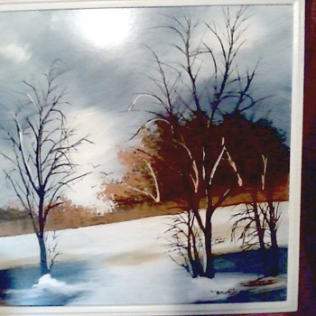 "Vintage Matson ""Winter Landscape"" / Oil on Masonite Panel 24""x 24"" / Circa 1960's-70's - Visual Art"