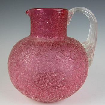 LOETZ RED OVERSHOT PITCHER AT THE PASSAU MUSEUM