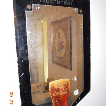 30's Fountain Glass Decal on Reverse Painted Glass Mirror - Coca-Cola
