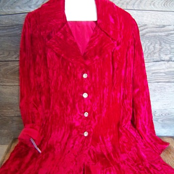 Vintage Red Crushed Velvet Womans Blazer by Charleston Preview Shop  - Womens Clothing