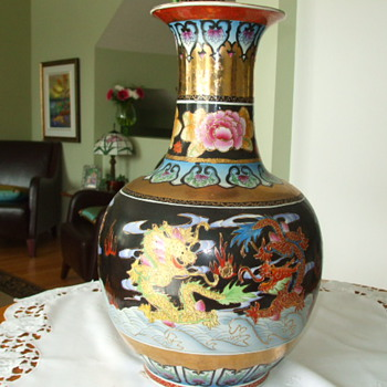 Japanese Satsuma or Chinese Dragon VASE- Age? Marks? Any Info? - Asian