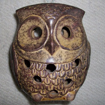 Owl Tea Light Holder - Folk Art