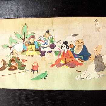 Small Japanese Framed Silk Painting - 7 Gods of Good Fortune  - Asian
