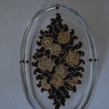 Oval glass box  Schwarzlot Art Deco