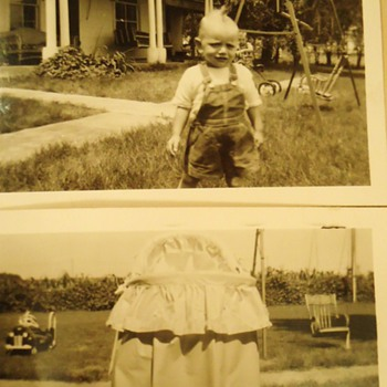 "Vintage wood chair! Cut off the legs!! Heck with it! Baby needs swing! and Mom""s asparagus bowls, Nebraska asparagus farm! - Photographs"