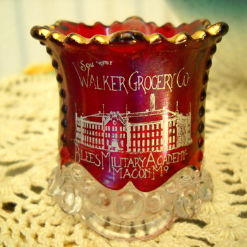 Antique Walker Grocery Blees Military Academy Cranberry Glass Souvenir - Advertising