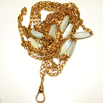 "Antique Victorian MOP Muff Guard Chain Necklace 12ct 12k Rose Gold 68"" - Fine Jewelry"