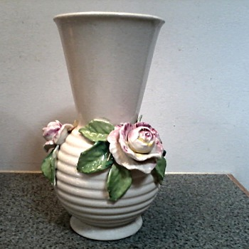 "Japanese ""Barbotine"" Style Rose Vase by Seyei Toki Co Ltd, or Moriyami Mori - machi of Japan/ Circa 1920 -30's - Art Pottery"