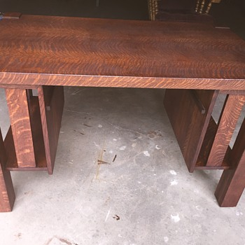 Antique Tiger Maple Library table signed