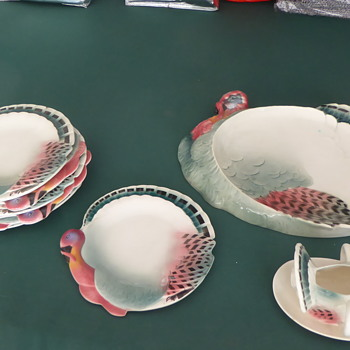 Made in Czechoslovakia - Turkey shaped dinnerware