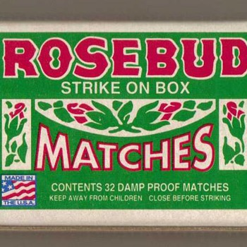 "Diamond Brands ""Rosebud"" Matchbox - USA - Tobacciana"