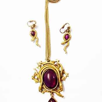 Vintage Snake with Fuschia Cabochon Demi Parure - Costume Jewelry