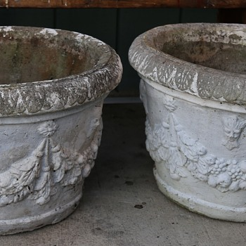 Two Very Large and Heavy Cast Stone Planters