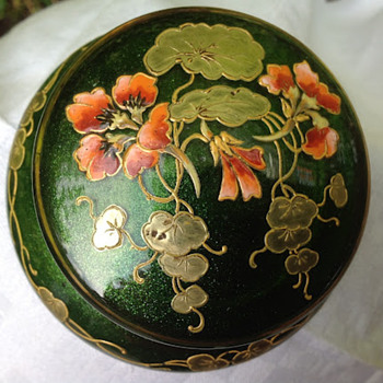 Enamelled green aventurin - Poschinger? - Art Glass