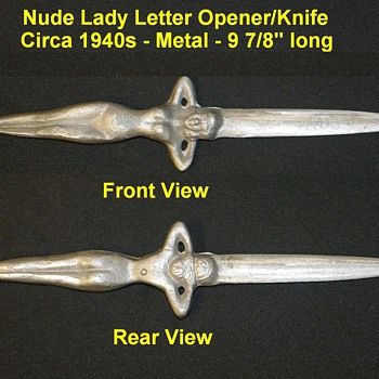 Cast Metal Nude Lady Letter Opener/Knife - Office