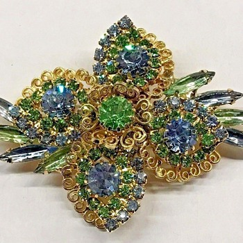 Stunning! Hobe Blue and Green Rhinestone Brooch - Costume Jewelry