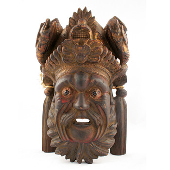 Asian Mask Pair with Chipped Gold Leaf - Asian