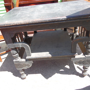 Antique Table Beautiful Carving,Brass On Legs - Furniture