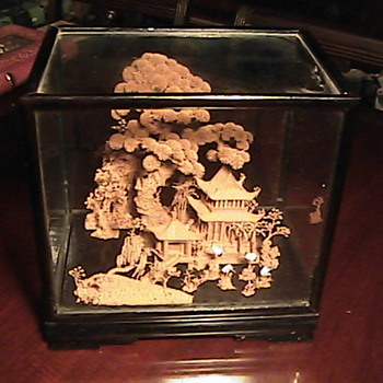 1940 Large Oriental Cork Carving in Glass Case - Asian