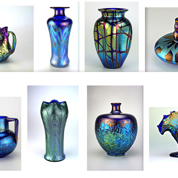 Just some of the shades of blue found in Loetz art glass - Art Glass