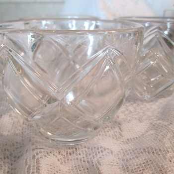 Glass punch cups with diamond shaped handles