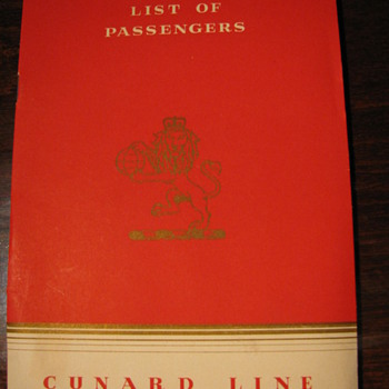 R.M.S. &quot;Mauretania&quot; List of Passengers First Class 1953 - Paper