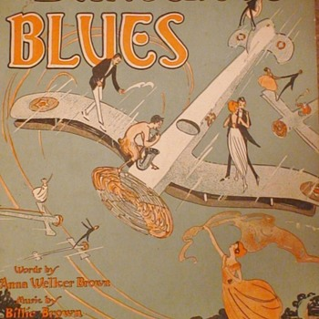 """Dangerous Blues"" Sheet Music 1921 J.W. Jenkins Sons Music Company Words By Anna Welker Brown Music By Billie Brown - Music Memorabilia"