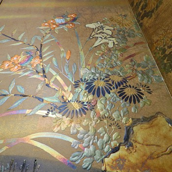 1930's Japanese Silk Byobu Folding Screen