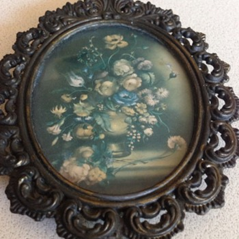 Small Flower picture in ornate brass frame - Visual Art