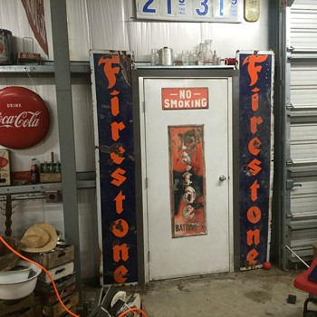 1930 's 8ft vertical porcelain Firestone signs - Petroliana