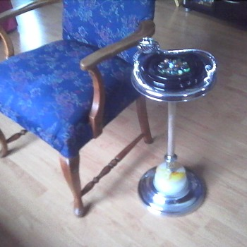Fancy Arm Chair Ashtray and Lighter - Tobacciana