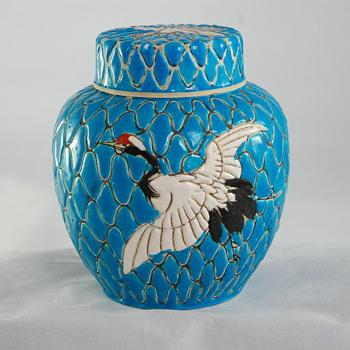 Japanese Blue Enamel Cranes Ginger Vase - Asian