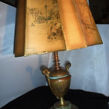 Antique trophy Brass table lamp light green marble base with painted shade and marble top - Lamps