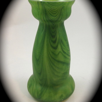 Rindskopf Green Striped Aventurine Vase - Art Glass