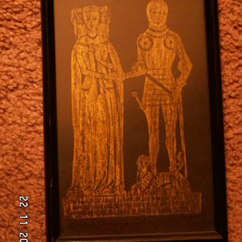 Gold Charcoal Rubbing of Baron Camoys & Wife 1418 w/ Antique Wood Frame - Posters and Prints