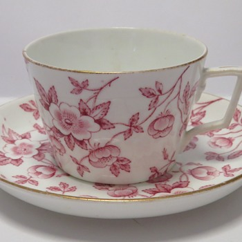 Antique Pink on White Cup and Saucer - China and Dinnerware