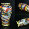 "Awesome Colorful Welz Iridescent Swirl Vase 8"" Tall"