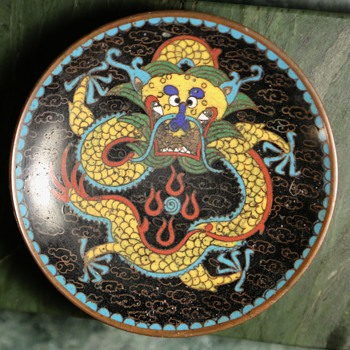 Small Chinese Cloisonne Dragon Plate - Asian